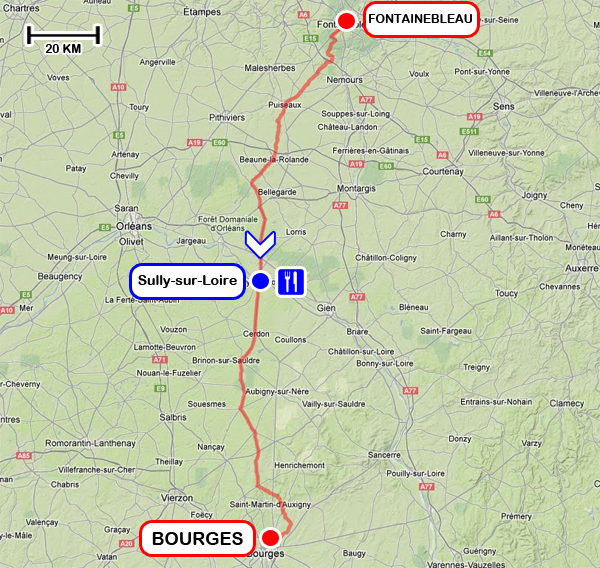 Tracé - 1ère étape du PARIS - CÔTE BASQUE 2013